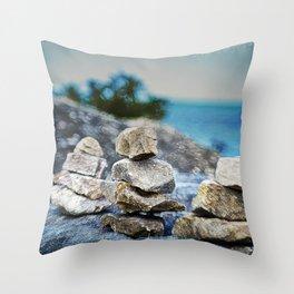 Huron Rock stack Throw Pillow