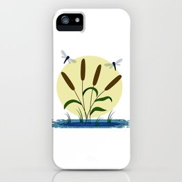 Cattails and Dragonflies iPhone Case