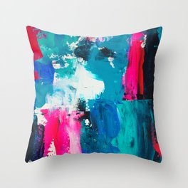 Look on the bright side | neon pink blue brushstrokes abstract acrylic painting Throw Pillow