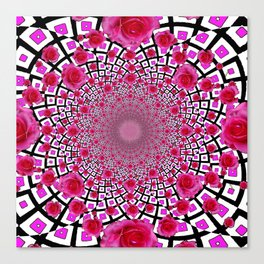 OPTICAL RED ROSES PINK BLACK PATTERN  ART Canvas Print