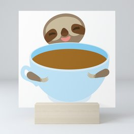sloth & coffee Mini Art Print
