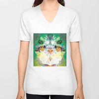 clockwork V-neck T-shirts featuring Clockwork Butterfly by VivianLohArts