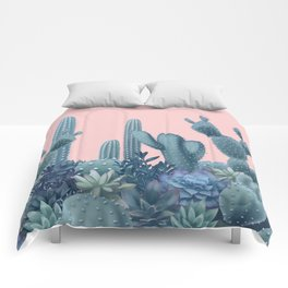 Milagritos Cacti on Rose Quartz Background Comforters