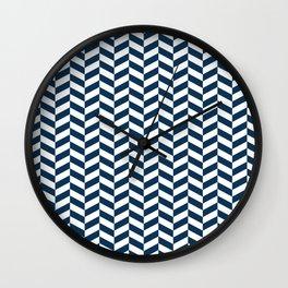 Prussian Blue Herringbone Pattern Wall Clock