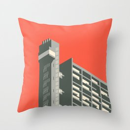 Trellick Tower London Brutalist Architecture - Red Throw Pillow
