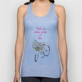 Take a Slow Ride With Me White Bicycle Flower Basket Unisex Tank Top