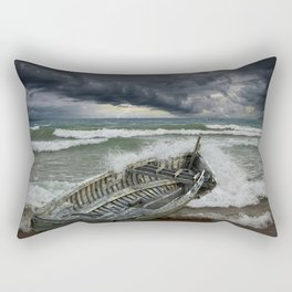 Shipwrecked Wooden Boat amidst Crashing Waves Rectangular Pillow