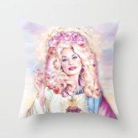 dolly parton Throw Pillows featuring Saint Dolly Parton  by DirtyLola
