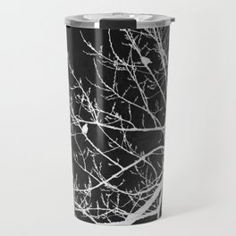 Crows Flying Over Trees Negative Silhouette Travel Mug