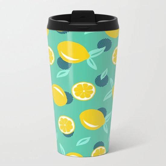 Lemon dots #society6 #decor #buyart Metal Travel Mug