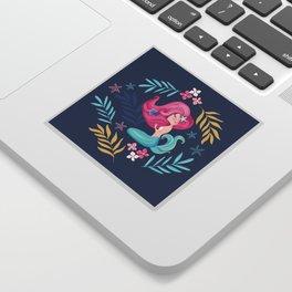 Pretty mermaid design with flowers. Sticker