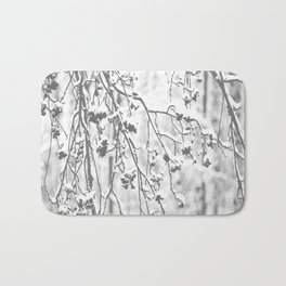 Cloudy Day In The Forest B&W Snowy Rowan Branches With Berries #decor #society6 #homedecor Bath Mat