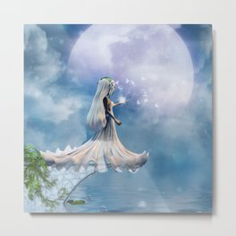 Cute little fairy with butterflies Metal Print