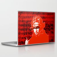 beethoven Laptop & iPad Skins featuring Ludwig van Beethoven · red10 by Marko Köppe
