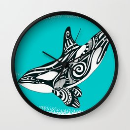 Orca Killer Whale Teal Tribal Tattoo Wall Clock