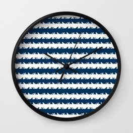 Blue and White Nightmare Holiday Beach Stripes Wall Clock