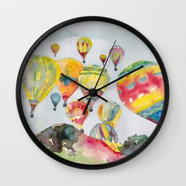 Hot air balloons flying Wall Clock