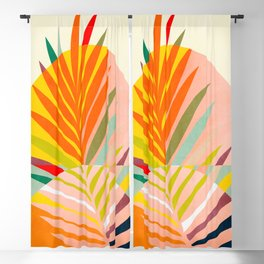 minimal leave tropical spring Blackout Curtain