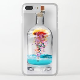 Electric Jellyfish Worlds in  a Bottle Clear iPhone Case
