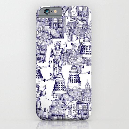 Doctor Who Toile de Jouy | 'Walking Doodle' | Blue iPhone & iPod Case