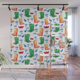 Colorful orange blue green watercolor cute wellies boots Wall Mural