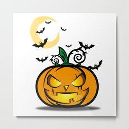Halloween Pumpkin And Bats Fly In Moonlight Metal Print