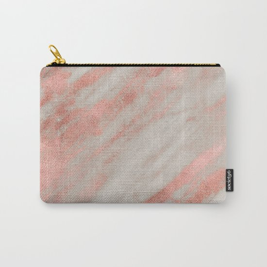 Smooth rose gold on gray marble Carry-All Pouch