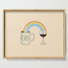 Coffee & Wine at the Ends of the Rainbow Serving Tray
