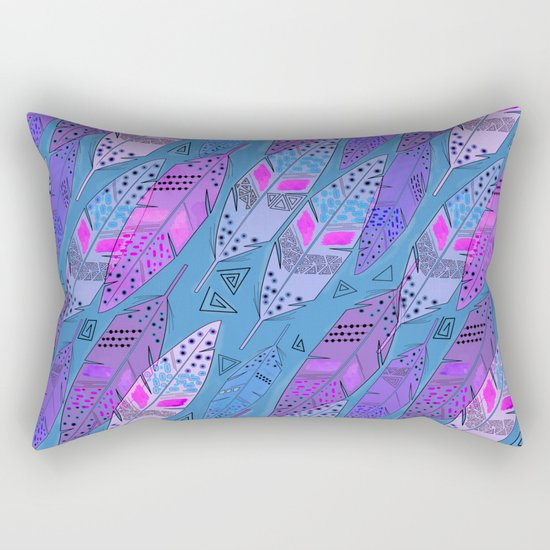 The colorful feathers on blue background . Rectangular Pillow