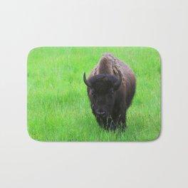 Bison in a Green Field Bath Mat