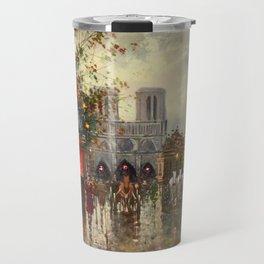 Cathedral Notre-Dame, Paris at Twilight by Antoine Blanchard Travel Mug