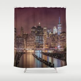 NEW YORK CITY Nightly Impressions | Panoramic Shower Curtain