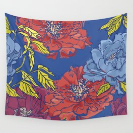 Peonies on Blue Wall Tapestry