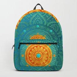 """Turquoise and Gold Mandala"" Backpack"