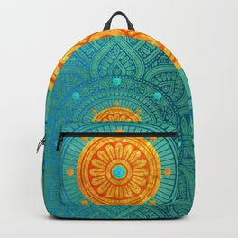 """Turquoise and Gold Mandala"" Backpack"