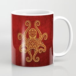 Intricate Red and Yellow Octopus Coffee Mug