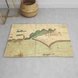 Vintage Map of Lima Peru (1702) Rug