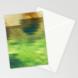 Green yellow triangle pattern, lake Stationery Cards