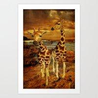 giraffes Art Prints featuring Giraffes by PineSinger