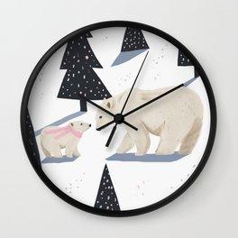 Polar Bear Christmas Wall Clock