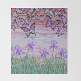 swallowtails, snails, & irises at sunrise Throw Blanket