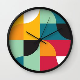 Geometric Pattern 31 (yellow red green curves) Wall Clock