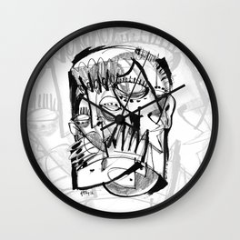 Here for Each Other - b&w Wall Clock
