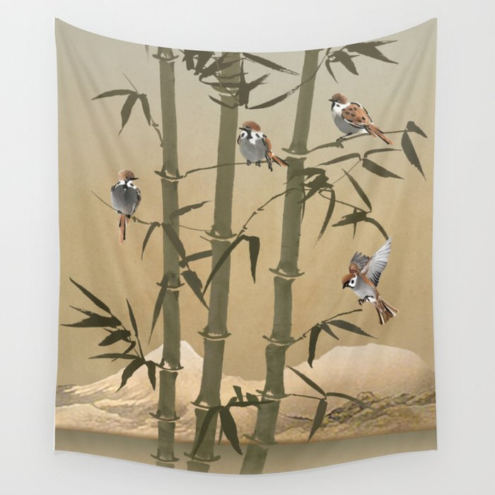 Sparrows and bamboo wall tapestry by spadecaller society6 sparrows and bamboo wall tapestry altavistaventures Choice Image