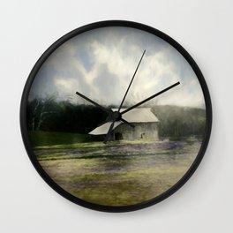 Barn in the mist Wall Clock