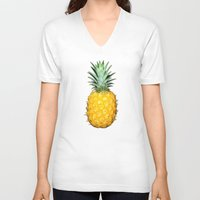 pineapples V-neck T-shirts featuring Big Pineapples by CumulusFactory