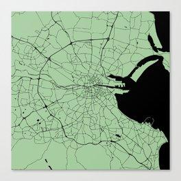 Dublin Ireland Green on Black Street Map Canvas Print