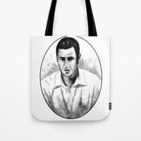 snl Tote Bags featuring DARK COMEDIANS: Adam Sandler by Zombie Rust