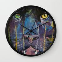 panther Wall Clocks featuring Panther by Michael Creese
