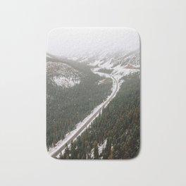 Snowy Mountain Road Bath Mat